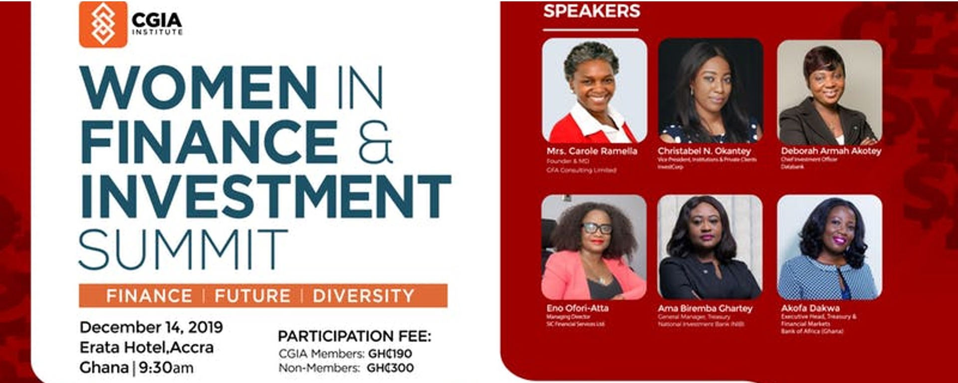 CGIA Network Ghana - Women in Finance & Investment Summit Movemeback African event cover image