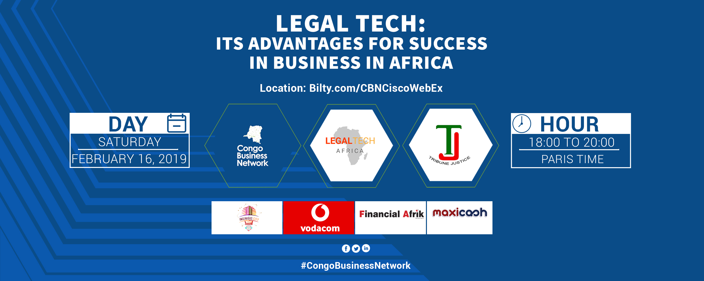 Congo Business Network, Legal Tech Africa and Tribune Justice - Legal Tech: its advantages for success in business in Africa Movemeback African event cover image