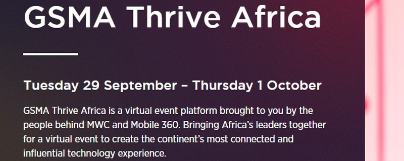 GSMA - GSMA Thrive Africa: Where the Future of Africa Connects Movemeback African event cover image